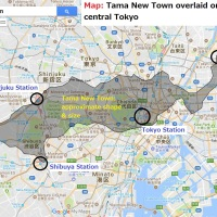 Map: Tama New Town overlaid on a map of central Tokyo