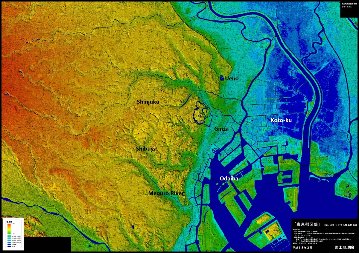 Tokyo elevation and flood maps 東京標高地形図